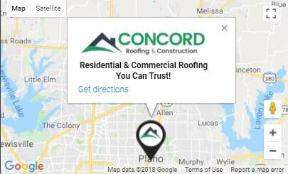 Concord Roofing & Construction Location Map