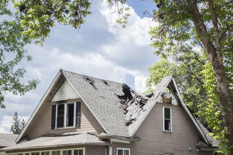 roof damaged