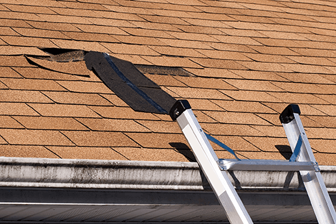 Damaged roof from strong winds