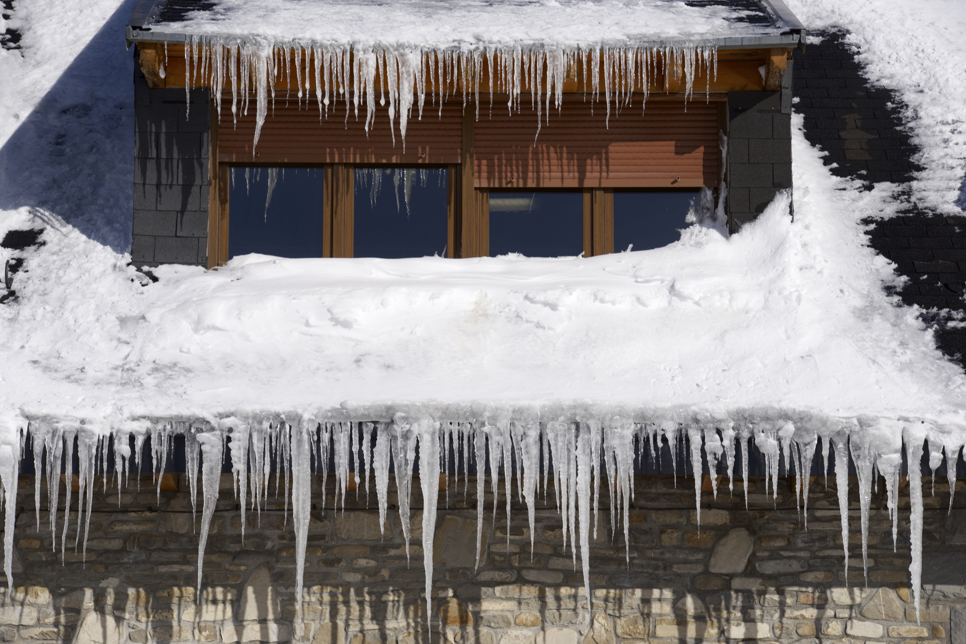 Icicles on the roof of a house